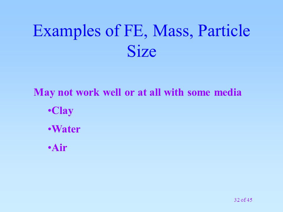 32 of 45 Examples of FE, Mass, Particle Size May not work well or at all with some media Clay Water Air
