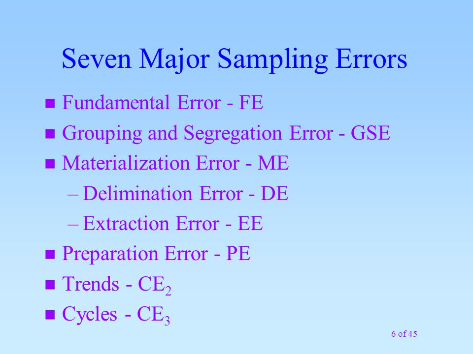 17 of 45 Sub-Sampling The DQO must define what represents the population in terms of laboratory sample size: Typical laboratory sample sizes that are digested or extracted: metals - 1g, volatiles - 5g, semi-volatiles - 30 g The 1g or 30g sample analyzed by the lab is supposed to represent a larger area/mass (e.g., acre).