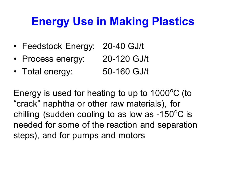 Energy Use in Making Plastics Feedstock Energy: 20-40 GJ/t Process energy: 20-120 GJ/t Total energy: 50-160 GJ/t Energy is used for heating to up to 1