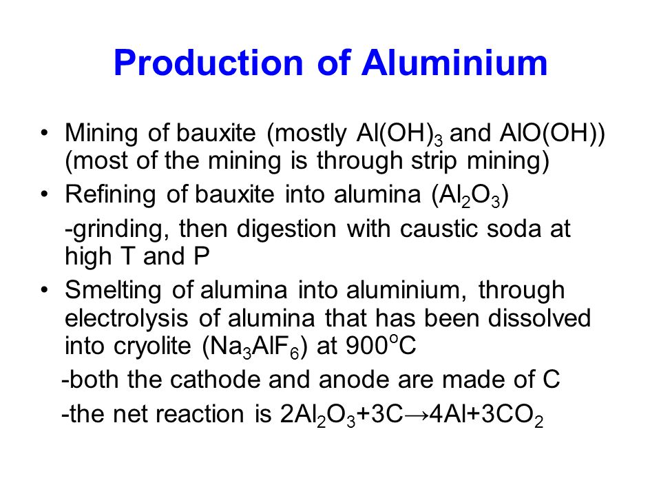 Production of Aluminium Mining of bauxite (mostly Al(OH) 3 and AlO(OH)) (most of the mining is through strip mining) Refining of bauxite into alumina