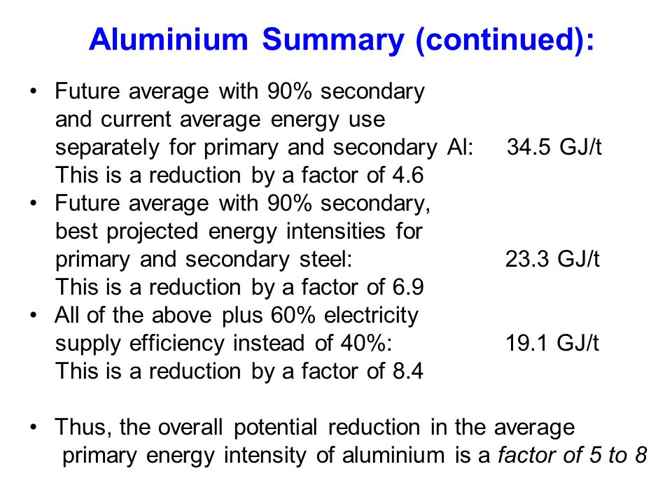 Aluminium Summary (continued): Future average with 90% secondary and current average energy use separately for primary and secondary Al: 34.5 GJ/t Thi