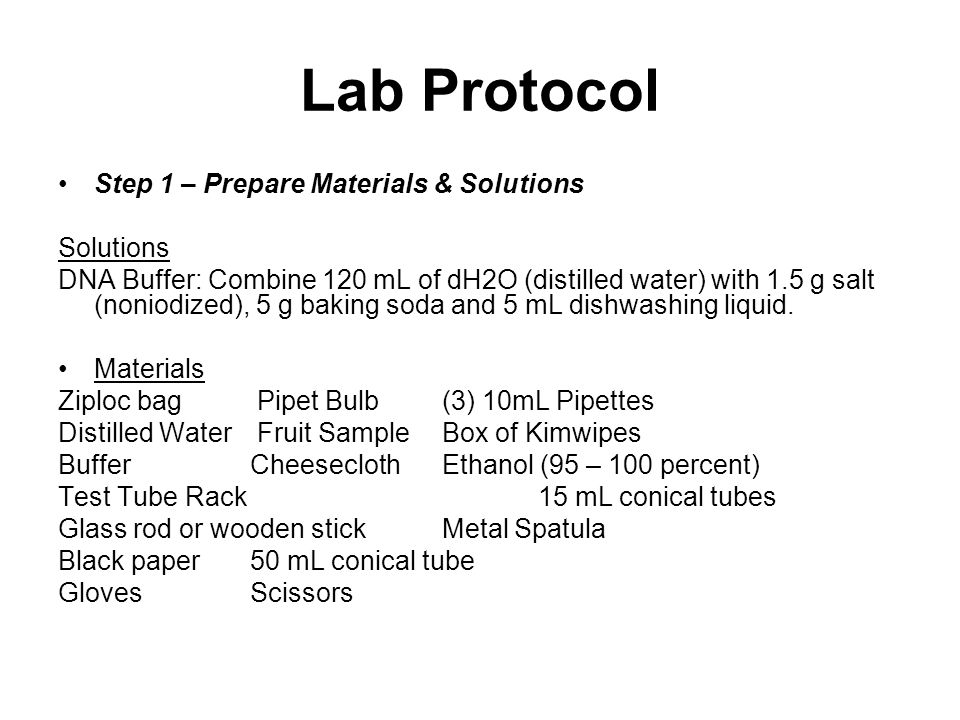 Lab Protocol Step 1 – Prepare Materials & Solutions Solutions DNA Buffer: Combine 120 mL of dH2O (distilled water) with 1.5 g salt (noniodized), 5 g baking soda and 5 mL dishwashing liquid.