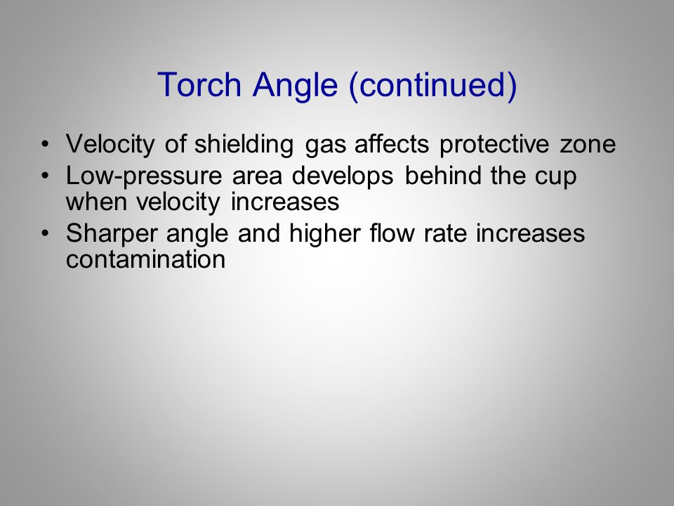 Torch Angle (continued) Velocity of shielding gas affects protective zone Low-pressure area develops behind the cup when velocity increases Sharper an