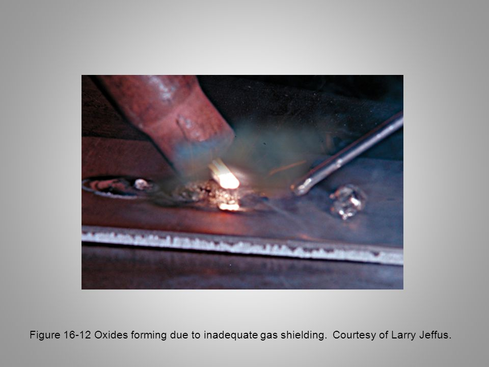 Figure 16-12 Oxides forming due to inadequate gas shielding. Courtesy of Larry Jeffus.
