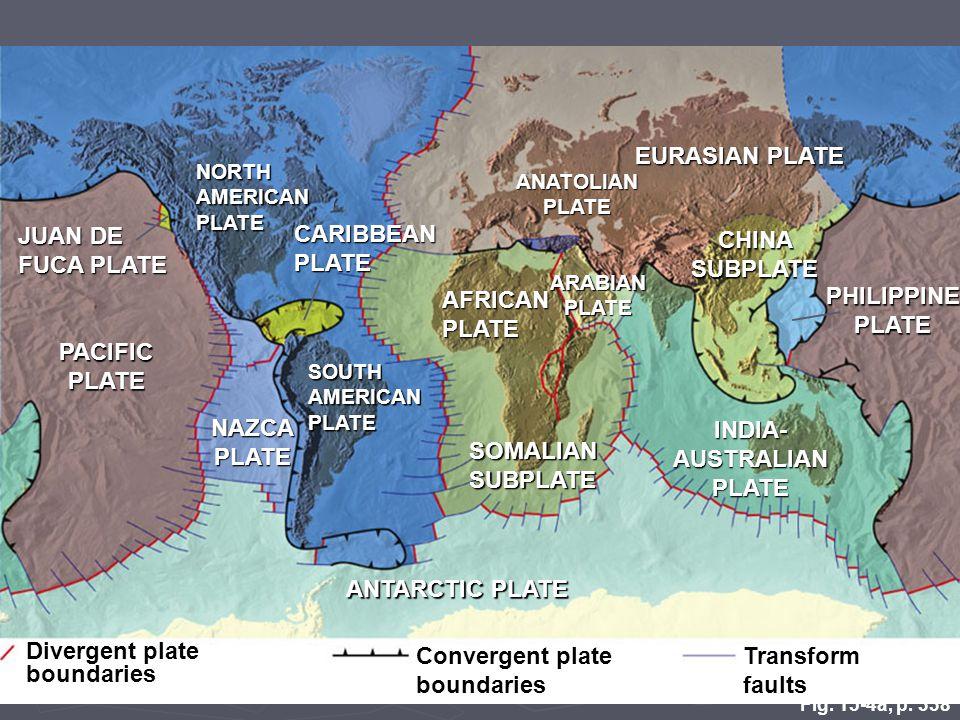 Fig. 15-4a, p. 338 EURASIAN PLATE NORTH AMERICAN PLATE ANATOLIAN PLATE JUAN DE FUCA PLATE CHINA SUBPLATE CARIBBEAN PLATE PHILIPPINE PLATE ARABIAN PLAT