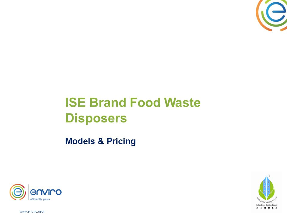 ISE Brand Food Waste Disposers Models & Pricing www.enviro.net.in