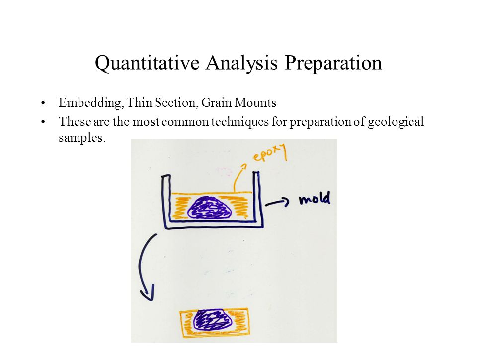 Quantitative Analysis Preparation Embedding, Thin Section, Grain Mounts These are the most common techniques for preparation of geological samples.