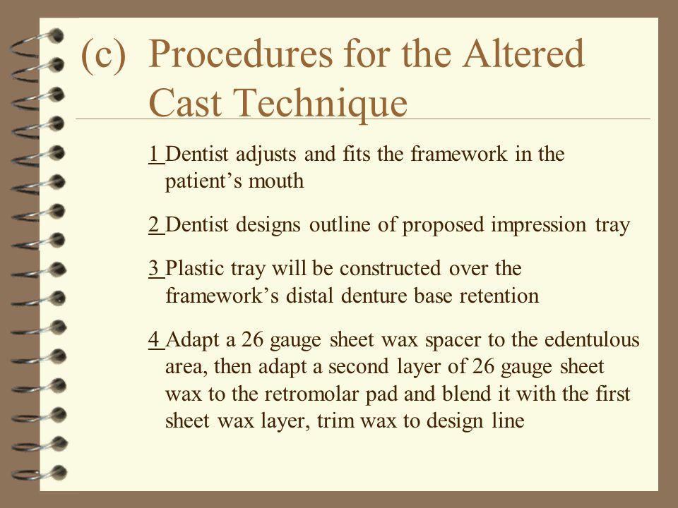 (c)Procedures for the Altered Cast Technique 1Dentist adjusts and fits the framework in the patient's mouth 2Dentist designs outline of proposed impre