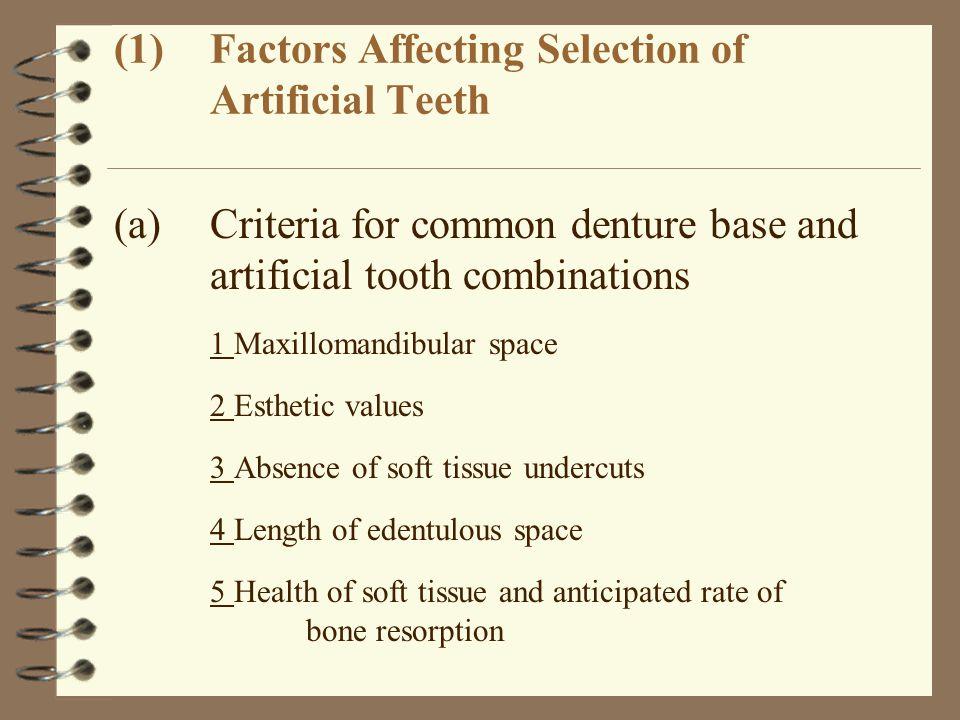 (1)Factors Affecting Selection of Artificial Teeth (a)Criteria for common denture base and artificial tooth combinations 1Maxillomandibular space 2Est