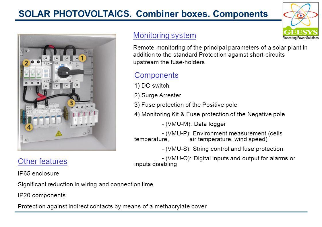 SOLAR PHOTOVOLTAICS.Combiner boxes.