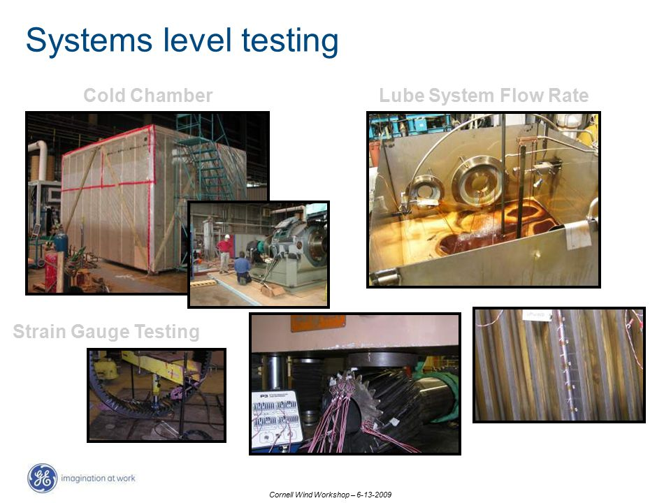 Cornell Wind Workshop – 6-13-2009 Cold ChamberLube System Flow Rate Strain Gauge Testing Systems level testing