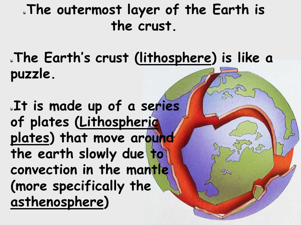 The outermost layer of the Earth is the crust. The Earth's crust (lithosphere) is like a puzzle.