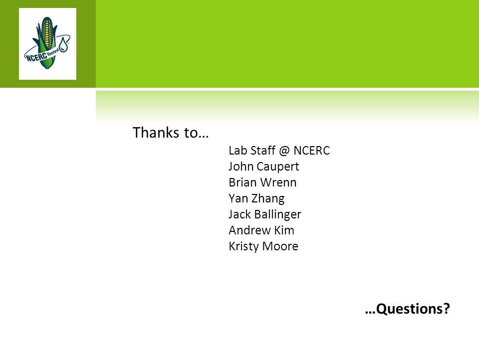 Thanks to… Lab Staff @ NCERC John Caupert Brian Wrenn Yan Zhang Jack Ballinger Andrew Kim Kristy Moore …Questions