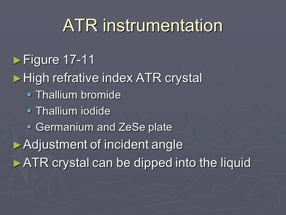 ATR instrumentation ► Figure 17-11 ► High refrative index ATR crystal  Thallium bromide  Thallium iodide  Germanium and ZeSe plate ► Adjustment of