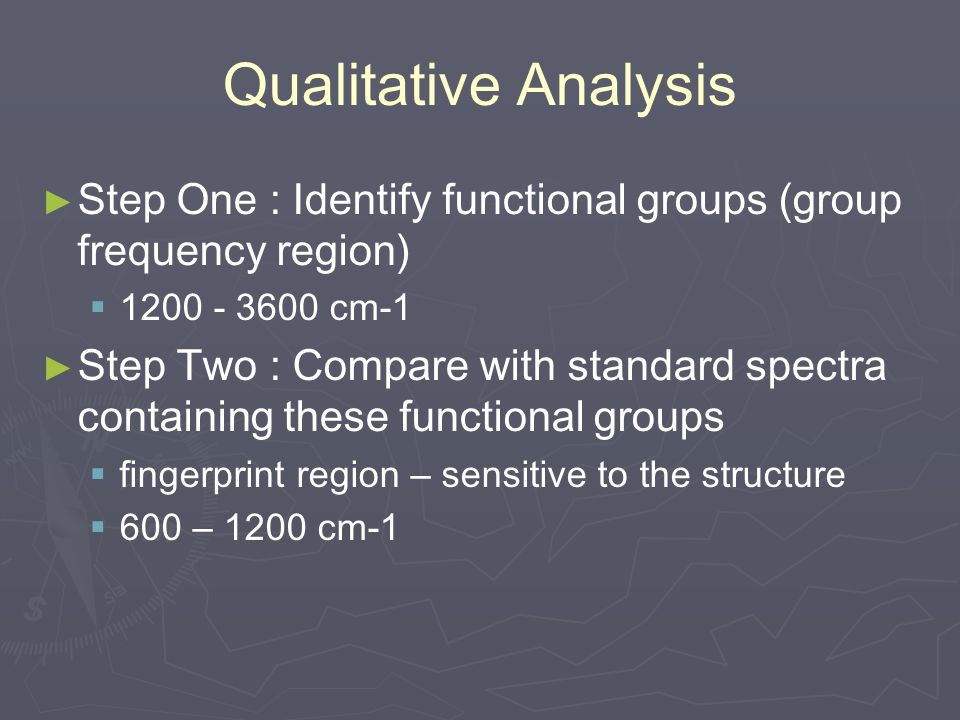 Qualitative Analysis ► ► Step One : Identify functional groups (group frequency region)   1200 - 3600 cm-1 ► ► Step Two : Compare with standard spec