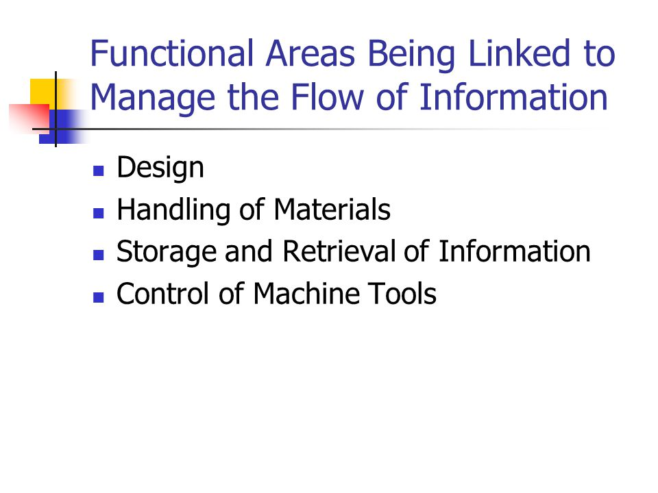 Functional Areas Being Linked to Manage the Flow of Information Design Handling of Materials Storage and Retrieval of Information Control of Machine T