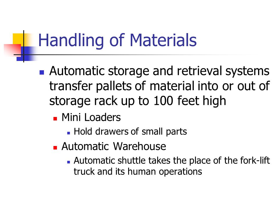 Handling of Materials Automatic storage and retrieval systems transfer pallets of material into or out of storage rack up to 100 feet high Mini Loader