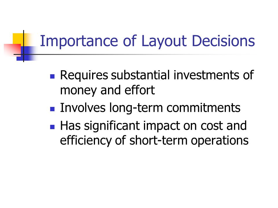 Requires substantial investments of money and effort Involves long-term commitments Has significant impact on cost and efficiency of short-term operat