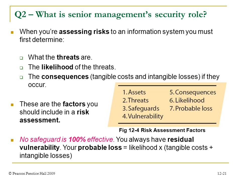 © Pearson Prentice Hall 2009 12-21 Q2 – What is senior management's security role.