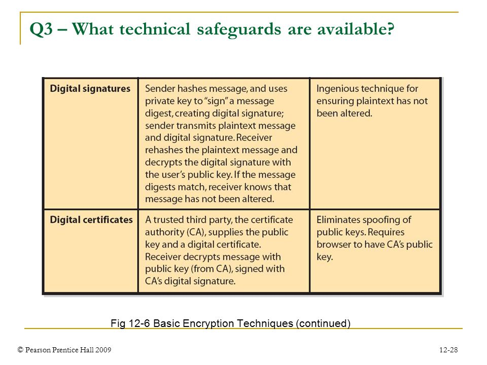 © Pearson Prentice Hall 2009 12-28 Q3 – What technical safeguards are available.
