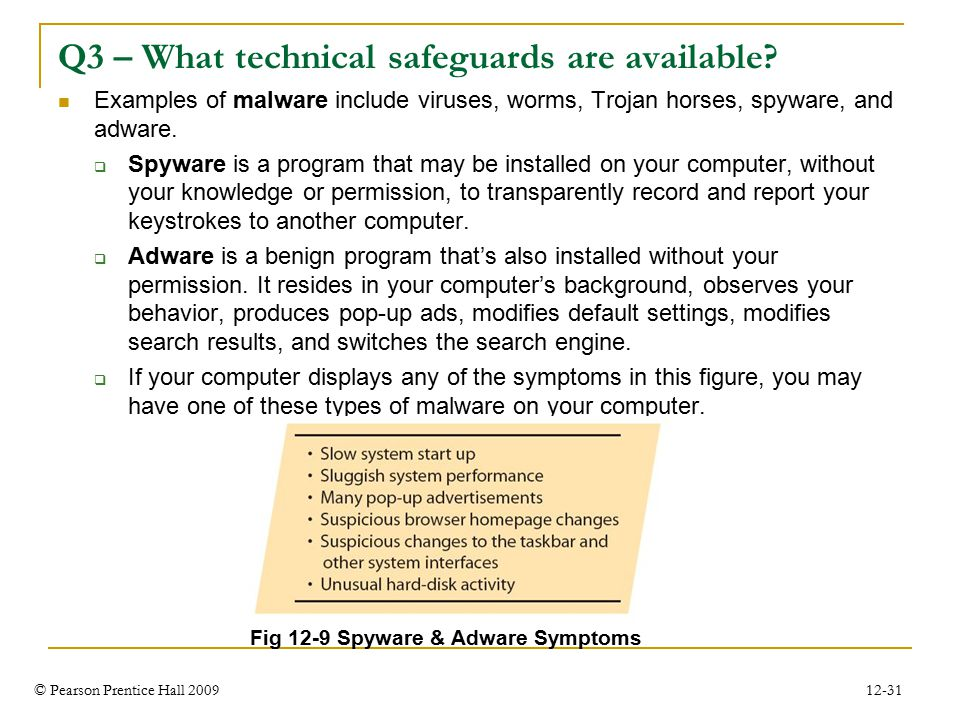© Pearson Prentice Hall 2009 12-31 Q3 – What technical safeguards are available.