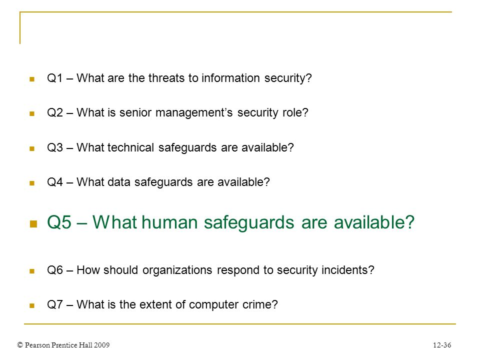 © Pearson Prentice Hall 2009 12-36 Q1 – What are the threats to information security.