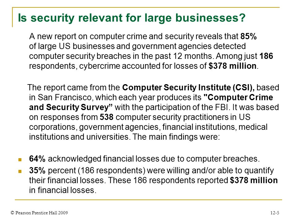 © Pearson Prentice Hall 2009 12-5 Is security relevant for large businesses.
