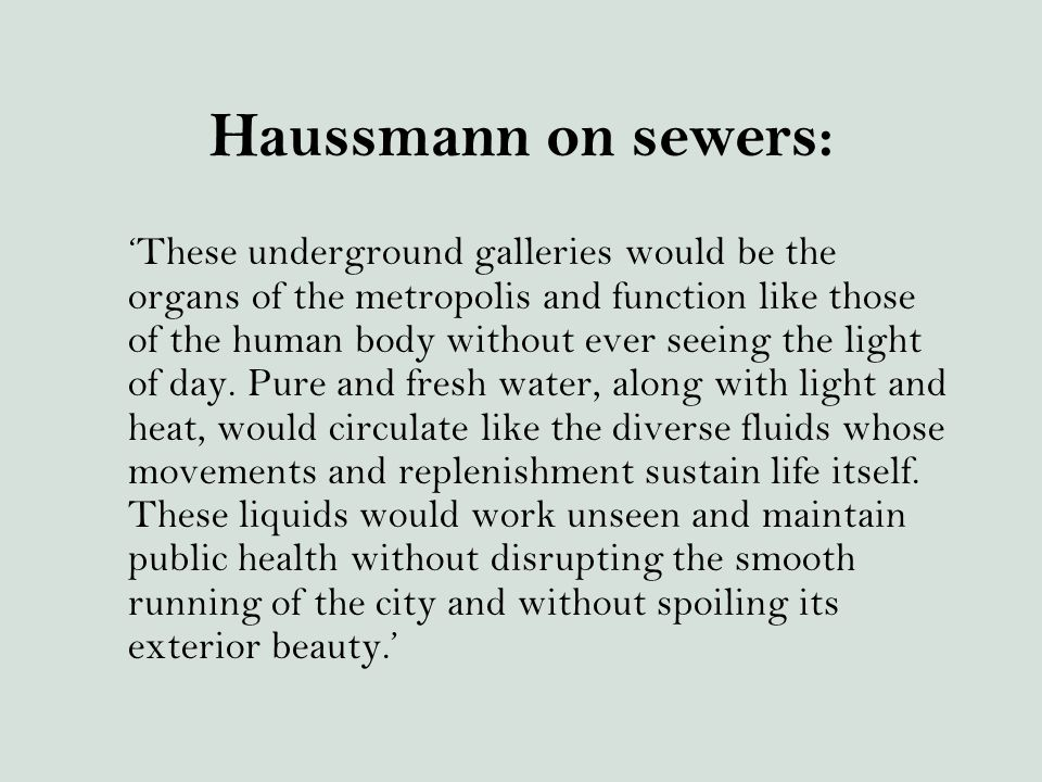Haussmann on sewers: 'These underground galleries would be the organs of the metropolis and function like those of the human body without ever seeing the light of day.
