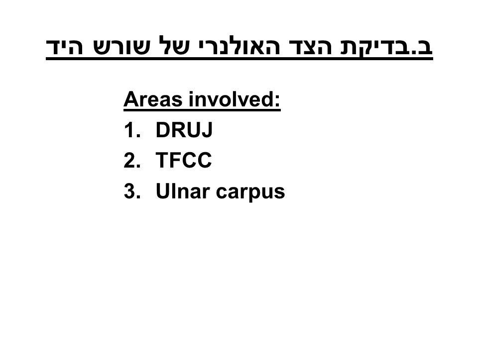 ב.בדיקת הצד האולנרי של שורש היד Areas involved: 1.DRUJ 2.TFCC 3.Ulnar carpus