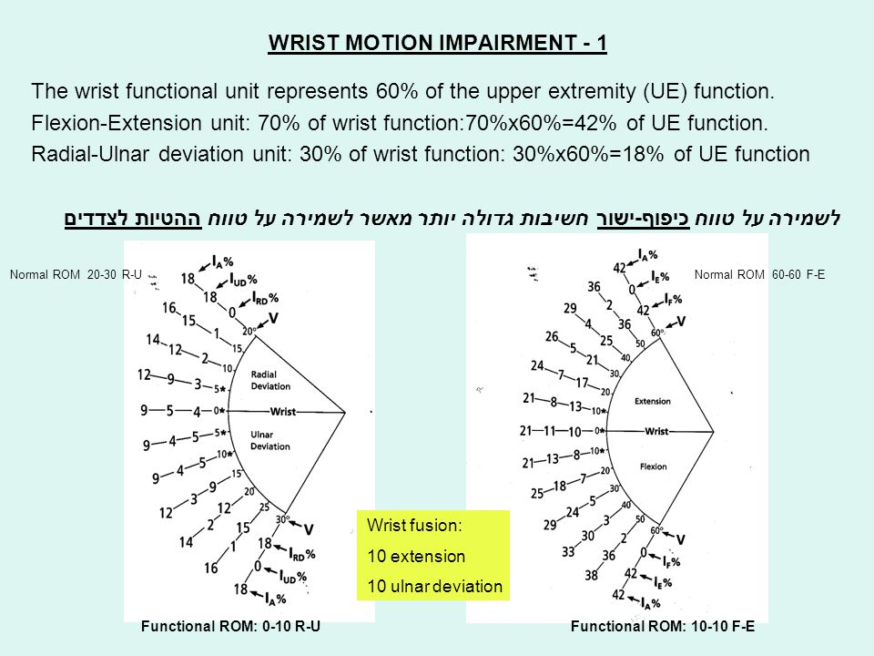 WRIST MOTION IMPAIRMENT - 1 The wrist functional unit represents 60% of the upper extremity (UE) function. Flexion-Extension unit: 70% of wrist functi