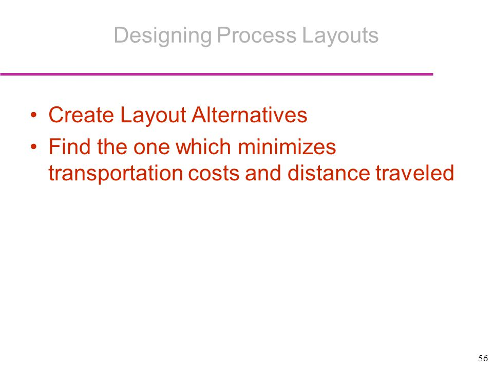 56 Create Layout Alternatives Find the one which minimizes transportation costs and distance traveled Designing Process Layouts