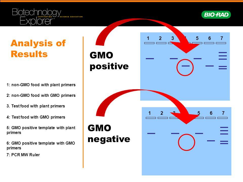 1327654 GMO positive GMO negative 1: non-GMO food with plant primers 2: non-GMO food with GMO primers 3. Test food with plant primers 4: Test food wit