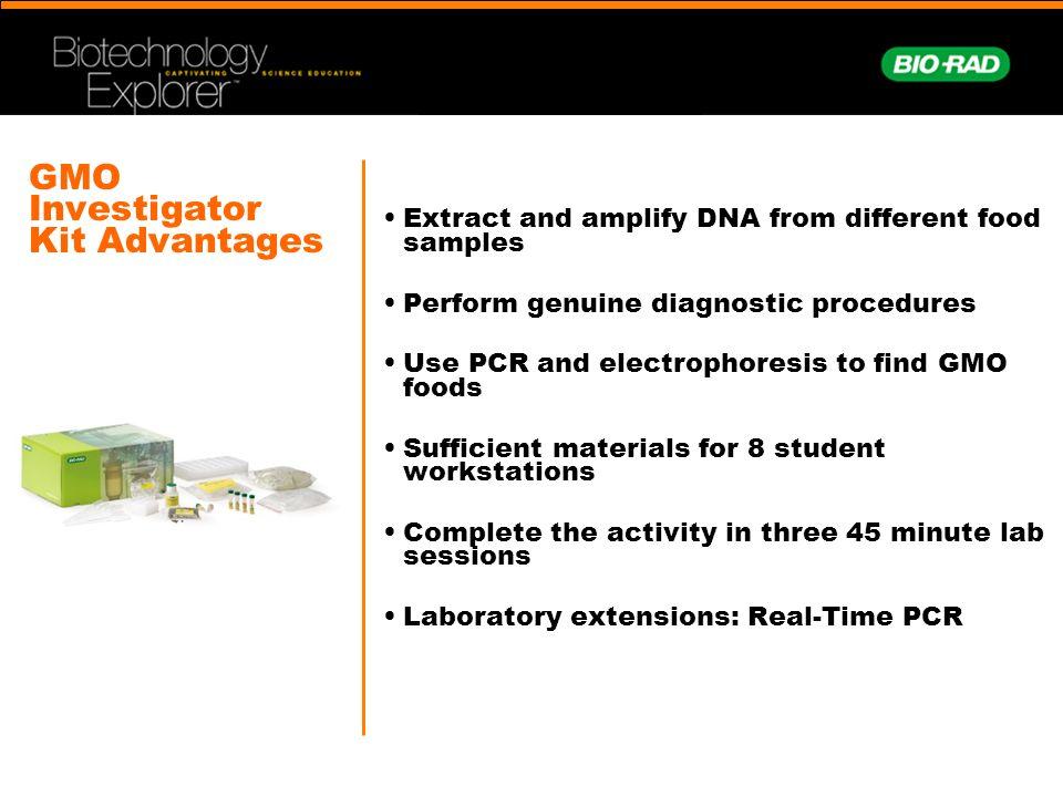 GMO Investigator Kit Lab Extensions Independent studies Data Mining/Bioinformatics for specific genes –E.g.