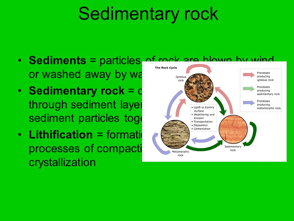 Sedimentary rock Sediments = particles of rock are blown by wind or washed away by water Sedimentary rock = dissolved minerals seep through sediment layers and crystallize and bind sediment particles together Lithification = formation of rock through the processes of compaction, binding, and crystallization