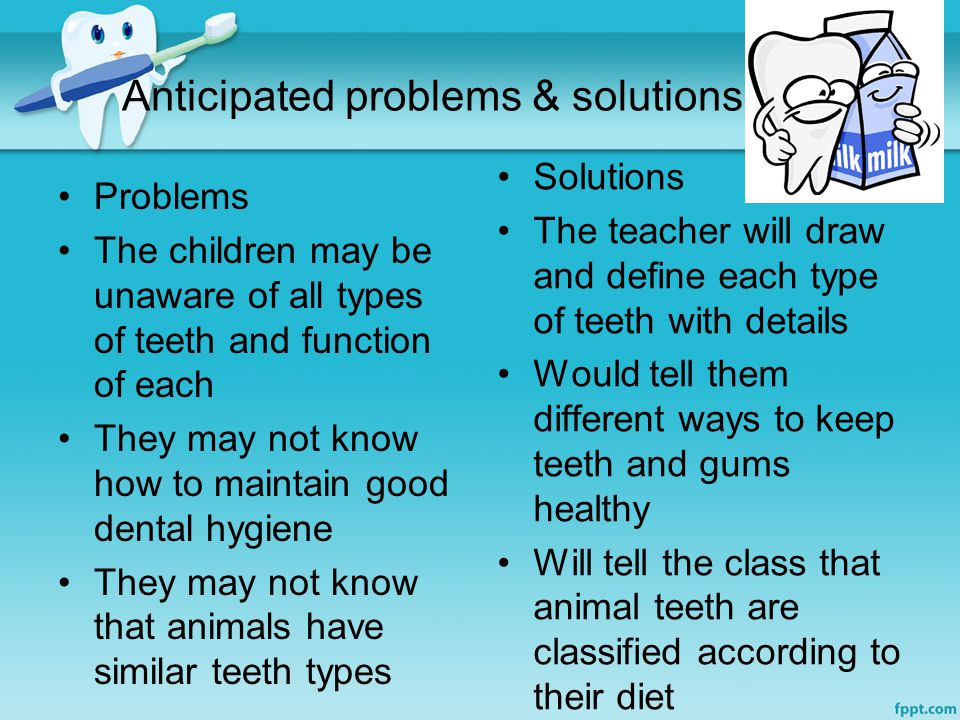 Anticipated problems & solutions Problems The children may be unaware of all types of teeth and function of each They may not know how to maintain good dental hygiene They may not know that animals have similar teeth types Solutions The teacher will draw and define each type of teeth with details Would tell them different ways to keep teeth and gums healthy Will tell the class that animal teeth are classified according to their diet