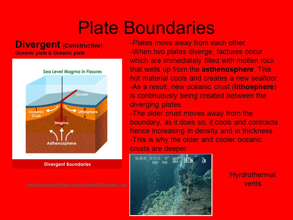 Plate Boundaries Divergent (Constructive) Oceanic plate & Oceanic plate http://stloe.most.go.th/html/lo_index/LOcanada4/403/images/1_1.jpg -Plates mov