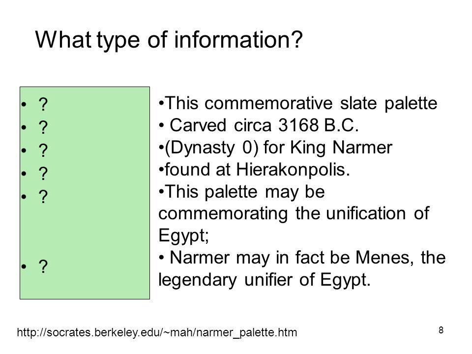 8 http://socrates.berkeley.edu/~mah/narmer_palette.htm This commemorative slate palette Carved circa 3168 B.C.