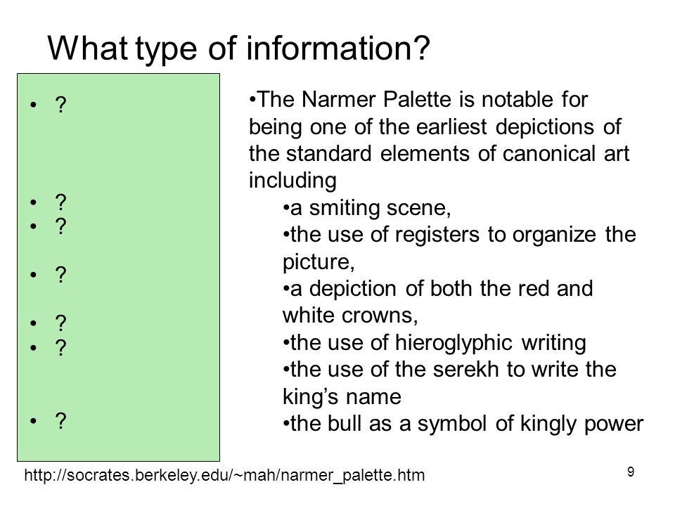 10 http://socrates.berkeley.edu/~mah/narmer_palette.htm What type of information.