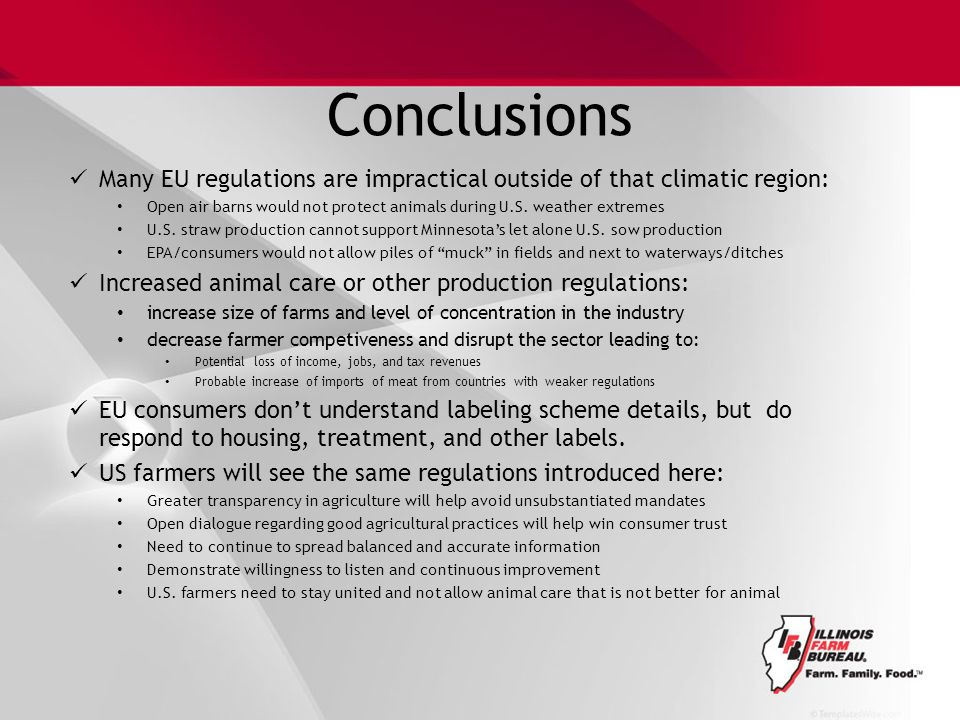 Conclusions Many EU regulations are impractical outside of that climatic region: Open air barns would not protect animals during U.S.