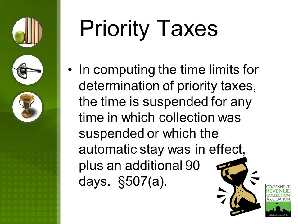 Priority Taxes In computing the time limits for determination of priority taxes, the time is suspended for any time in which collection was suspended