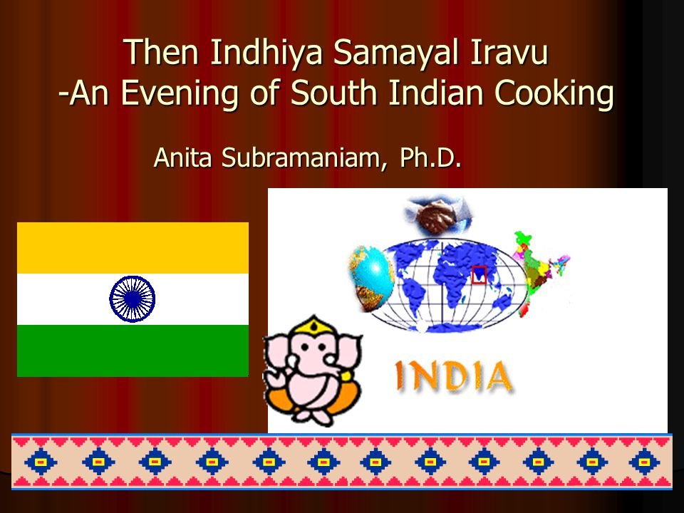 Anita Subramaniam Food Eating Patterns One of the main influences on Indian cuisine is the Hindu religion One of the main influences on Indian cuisine is the Hindu religion Many Hindus are vegetarians Many Hindus are vegetarians In addition, most of the Hindu people, as far as I know, don't eat beef.