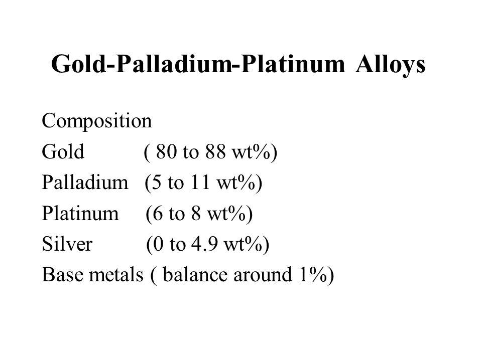 Gold-Palladium-Platinum Alloys Composition Gold ( 80 to 88 wt%) Palladium (5 to 11 wt%) Platinum (6 to 8 wt%) Silver (0 to 4.9 wt%) Base metals ( bala