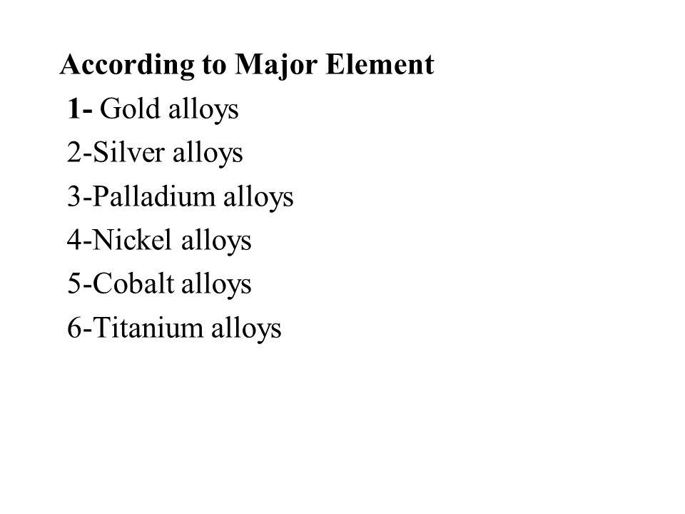 According to the Three Major Elements 1-Gold-palladium-silver 2- Palladium-silver-tin 3- Nickel-chromium-molybdenum 4- Cobalt-chromium-molybdenum 5-Iron-nickel-chromium 6- Titanium-aluminum-vanadium