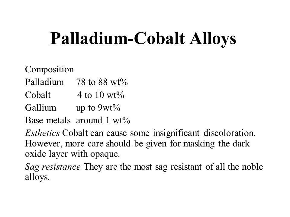 Palladium-Cobalt Alloys Composition Palladium 78 to 88 wt% Cobalt 4 to 10 wt% Gallium up to 9wt% Base metals around 1 wt% Esthetics Cobalt can cause s