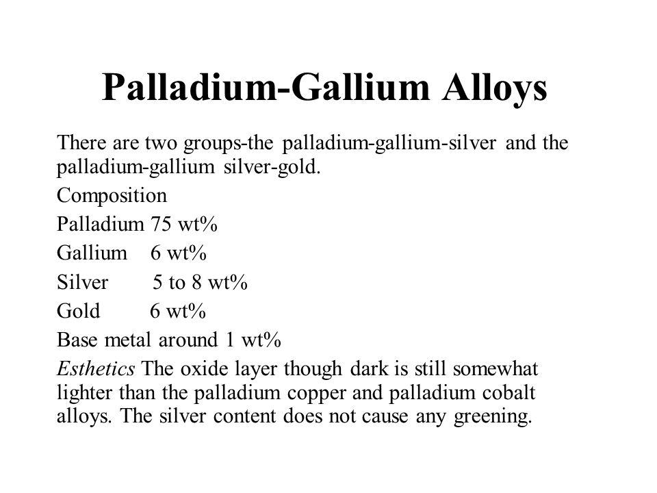 Palladium-Gallium Alloys There are two groups-the palladium-gallium-silver and the palladium-gallium  silver-gold. Composition Palladium 75 wt% Galli