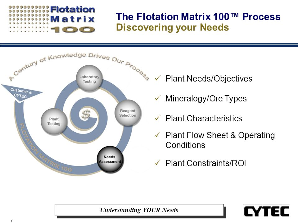 7 The Flotation Matrix 100™ Process Discovering your Needs Understanding YOUR Needs Plant Needs/Objectives Mineralogy/Ore Types Plant Characteristics Plant Flow Sheet & Operating Conditions Plant Constraints/ROI