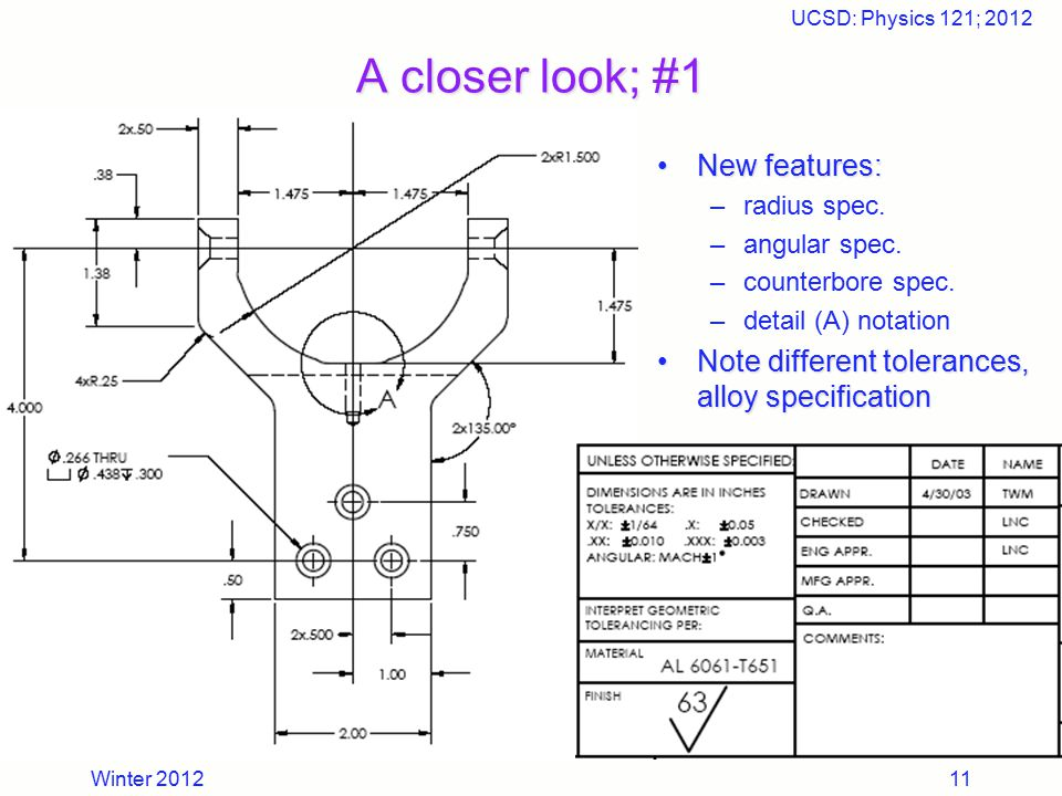 Winter 2012 UCSD: Physics 121; 2012 11 A closer look; #1 New features: –radius spec. –angular spec. –counterbore spec. –detail (A) notation Note diffe