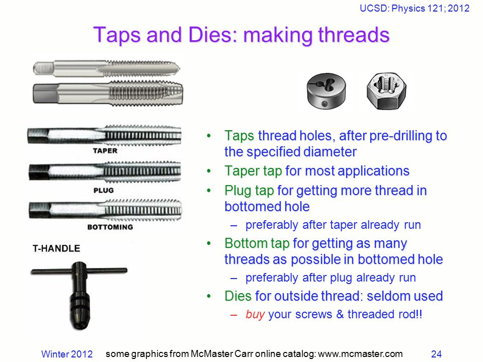 Winter 2012 UCSD: Physics 121; 2012 24 Taps and Dies: making threads some graphics from McMaster Carr online catalog: www.mcmaster.com Taps thread hol