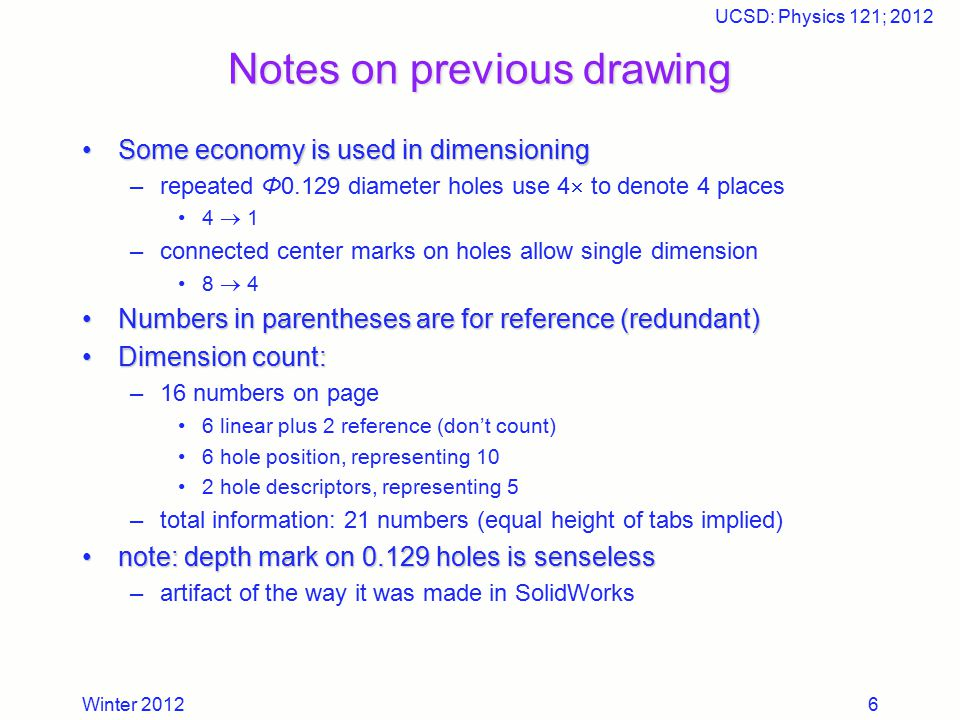 Winter 2012 UCSD: Physics 121; 2012 6 Notes on previous drawing Some economy is used in dimensioningSome economy is used in dimensioning –repeated Φ0.