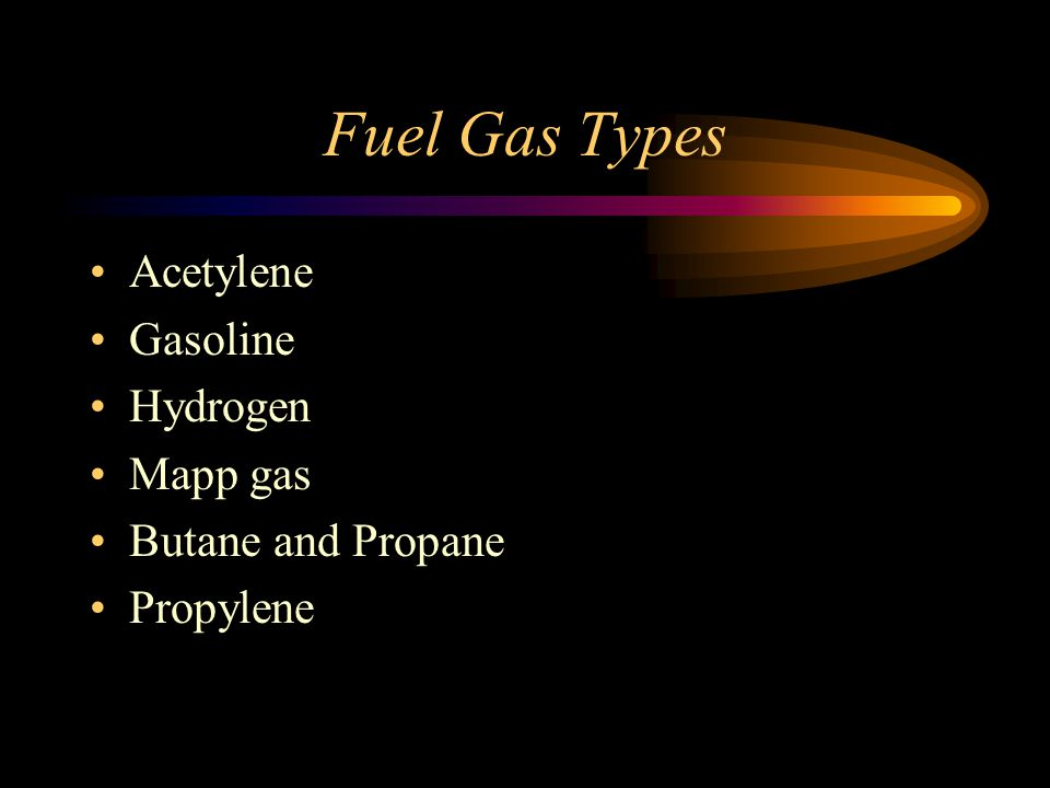 Fuel Gas Types Acetylene Gasoline Hydrogen Mapp gas Butane and Propane Propylene